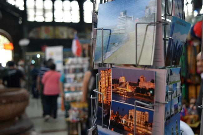 Mercado Central, postcards and souvenirs for sale