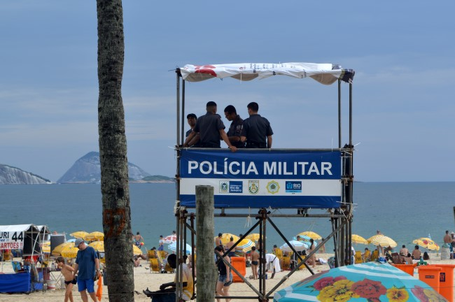 Police on the beach in Ipanema