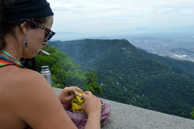 Argentinian tourist at the Corcovado (I'm guessing the country because of the mate de coca...)