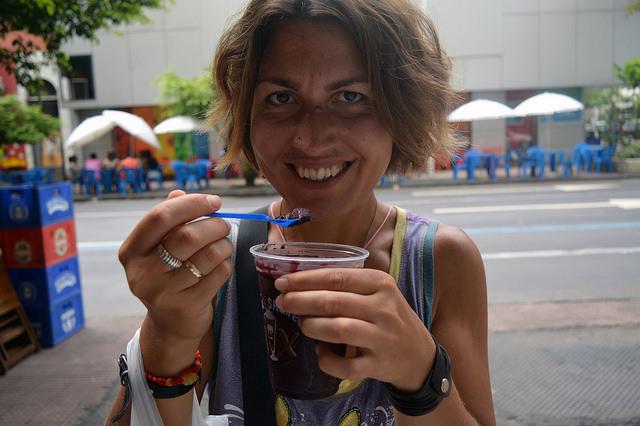 Trying Brazilian açaí in Rio de Janeiro, February 2016