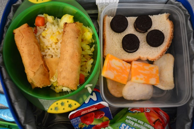Fried rice with corn, carrots and eggs, spring roll // Cream cheese and cucumber sandwich // Marbled cheese // Shrimp crackers // Mini-Oreos // Apple sauce and yogurt