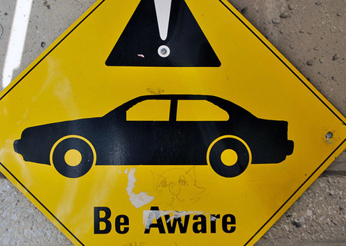 Be aware! Road sign in Canada