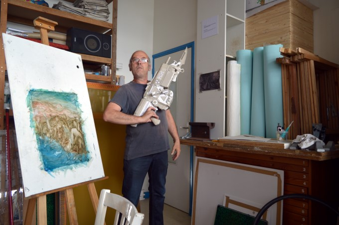 At my dad's atelier (the gun is made of paper...)