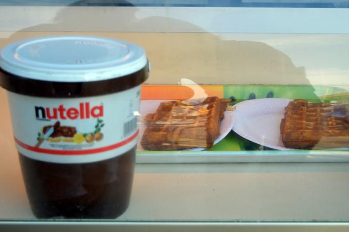 Gian Nutella jar and waffles at the market