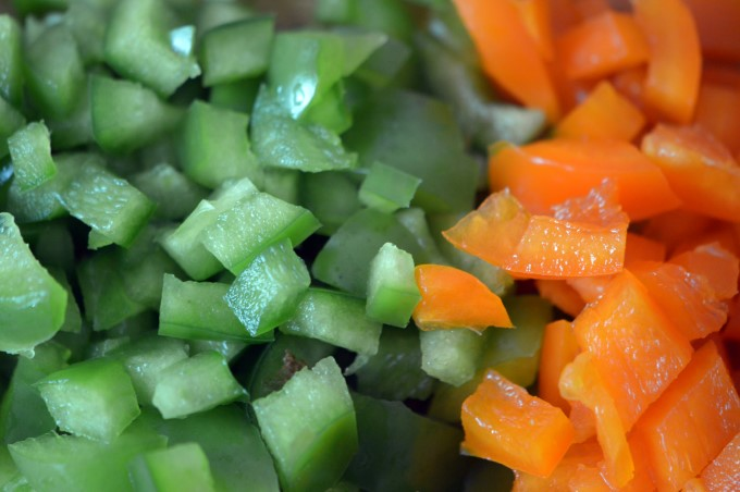 Bell peppers, green and orange