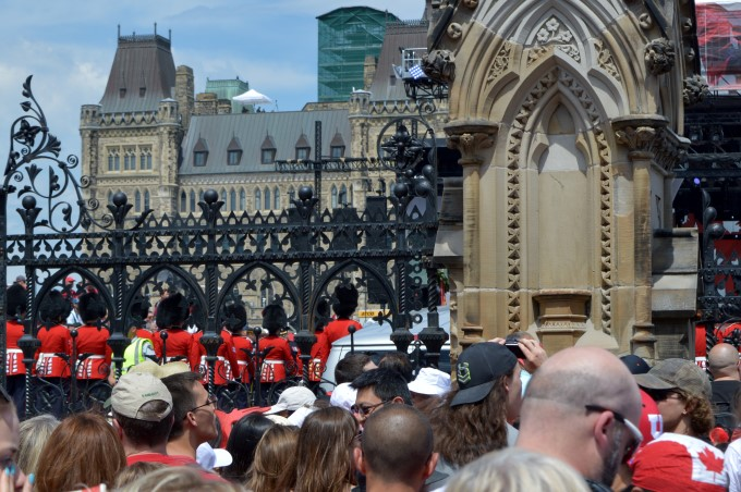 In front of the Parliament, where I realize I'm not that tall. Mark had a better view, perched on my shoulders!