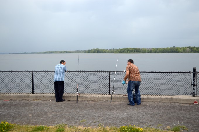 Fishermen on Bate Island right before the storm