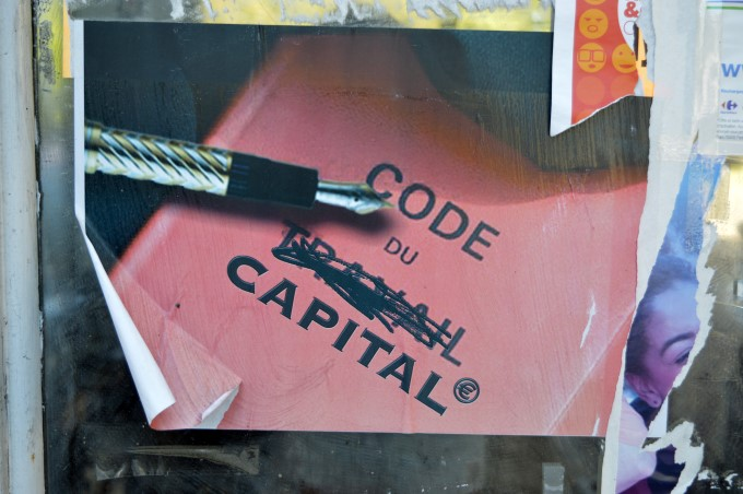 "Sticker against the proposed labour code reform, the ""Labour Code"" becomes the ""Code of Capitalism"""