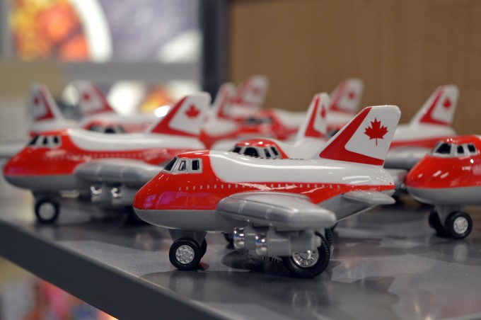 Plane at the gift shop at Montreal PET Airport