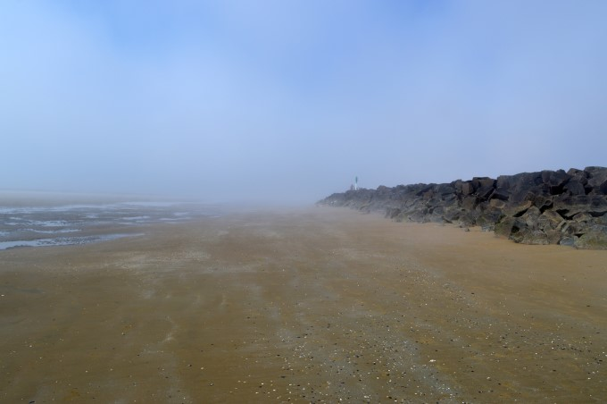 Heavy mist on the beach