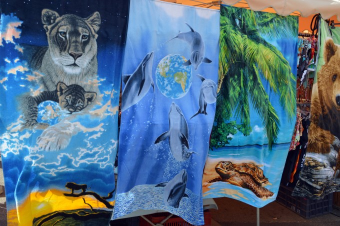 Beach towels at the market