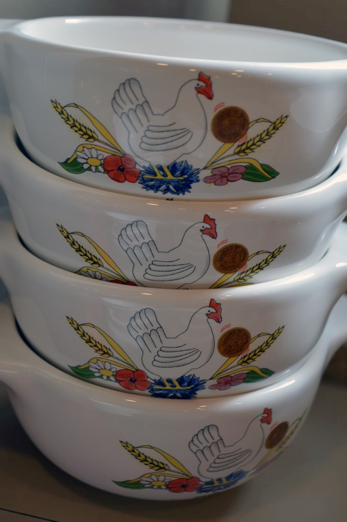 Old-fashioned branded bowls