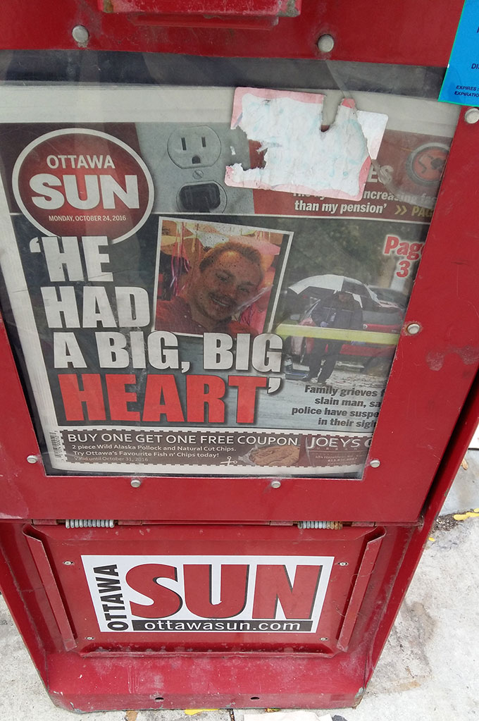 Headline of The Ottawa Sun on Monday, October 24