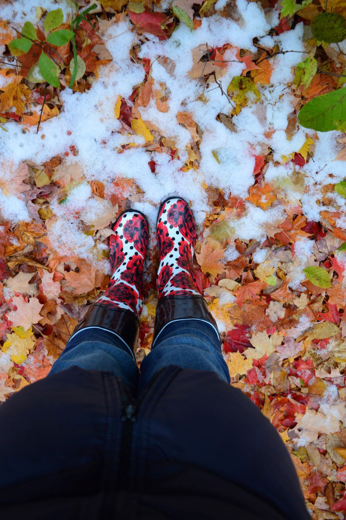 Leaves, snow and my ridiculous rain boots