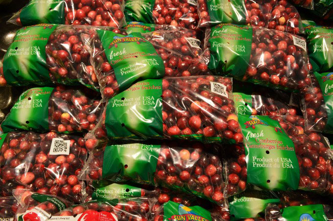 Fresh cranberries at the supermarket