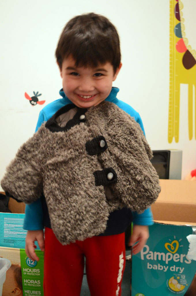 His first winter jacket my sister and grand-mother made him (unisex, because it was made before he was born)