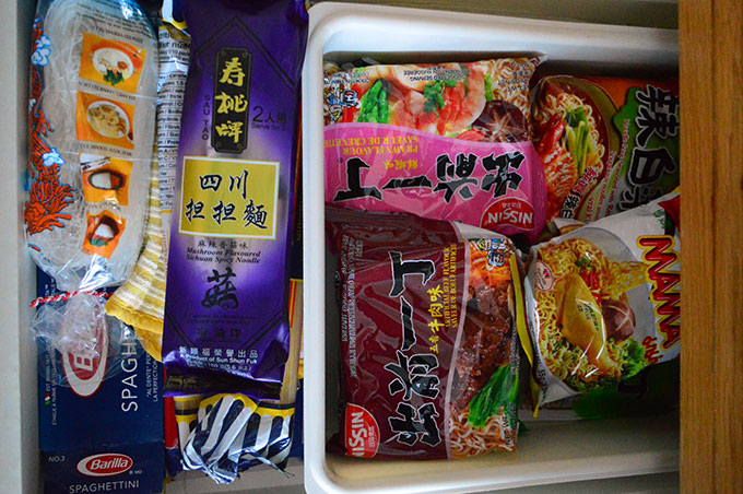 A drawer of dry noodles at home