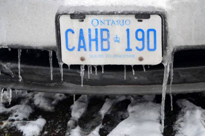 Icicles on an Ontario plate
