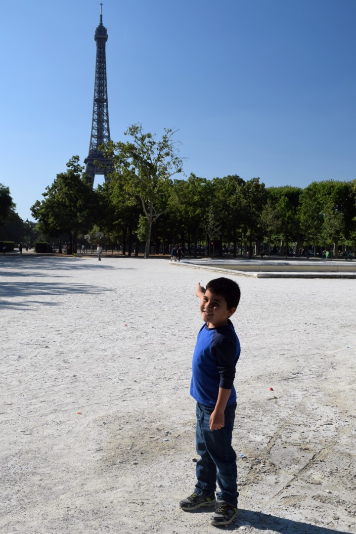 Mark spotting the Eiffel Tower from Champ de Mars