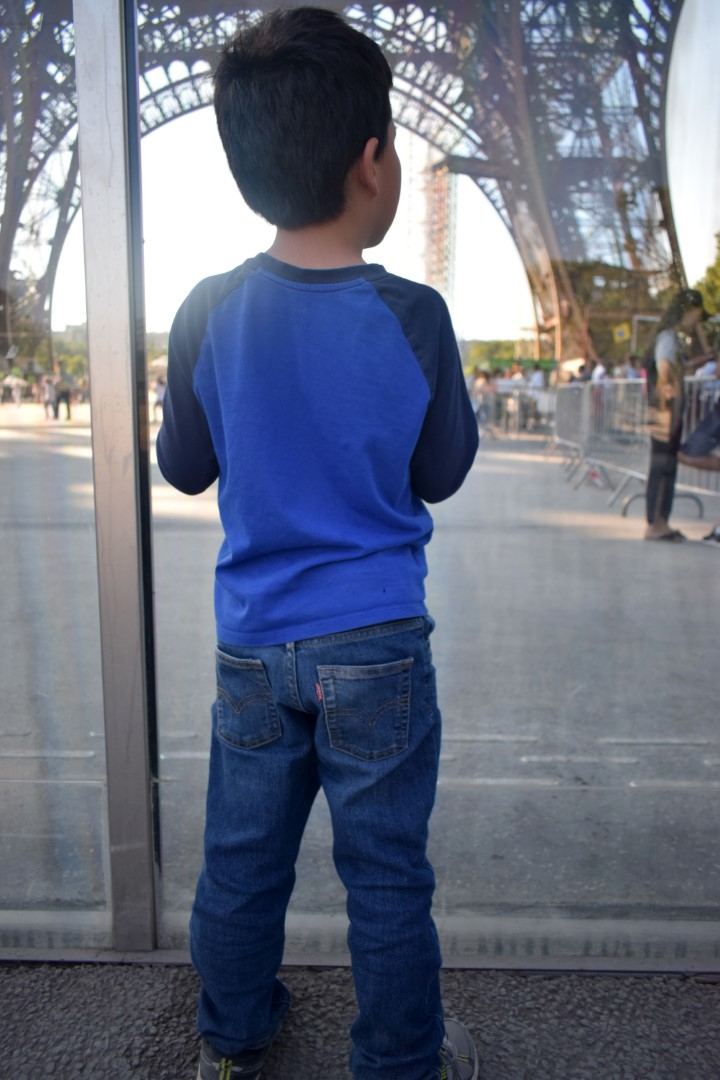 At the bottom of fhe Eiffel Tower