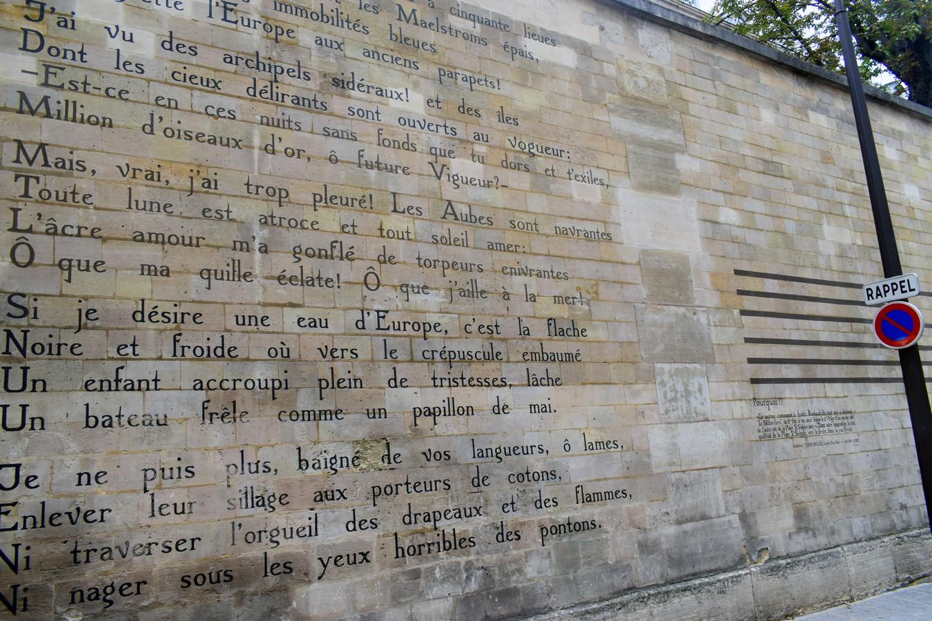The Drunken Boat, Arthur Rimbaud poem on a wall Rue Férou, Paris