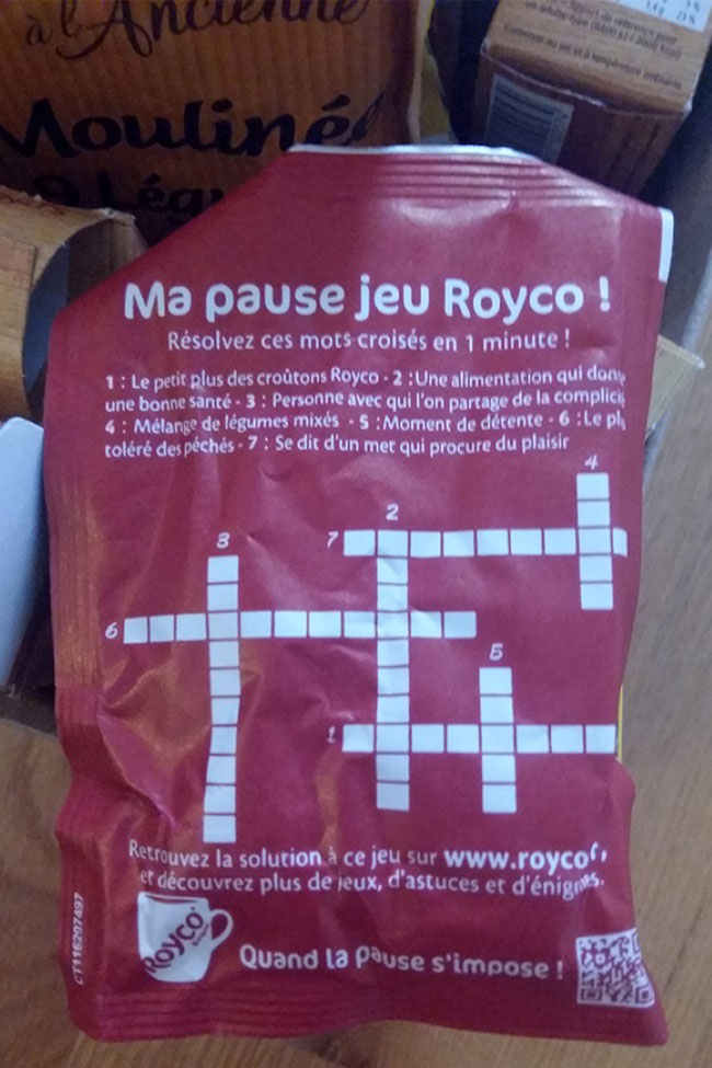 Royco soup pouches come with crosswords