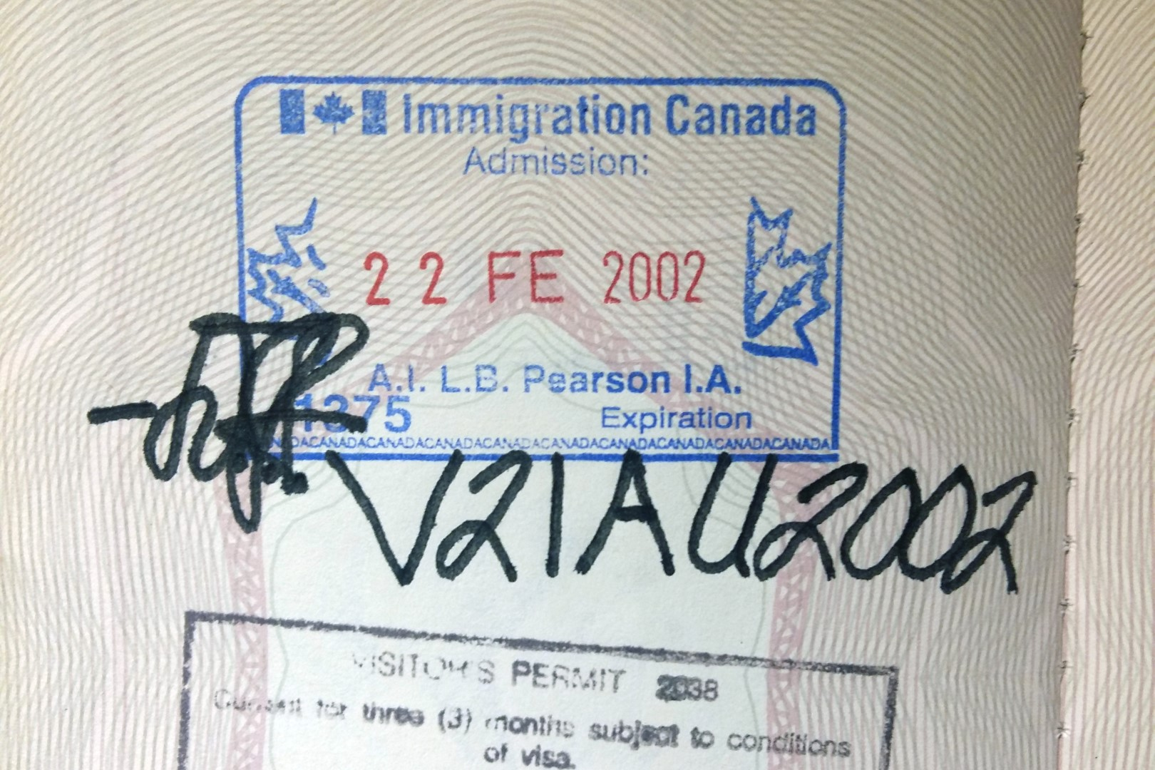 My original Canadian entry stamp
