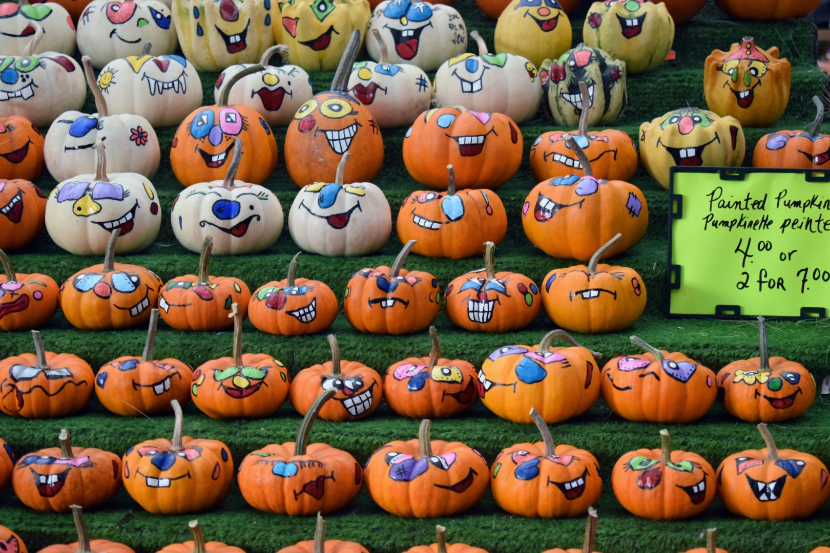 Painted Halloween pumpkins at the Byward Market, Ottawa