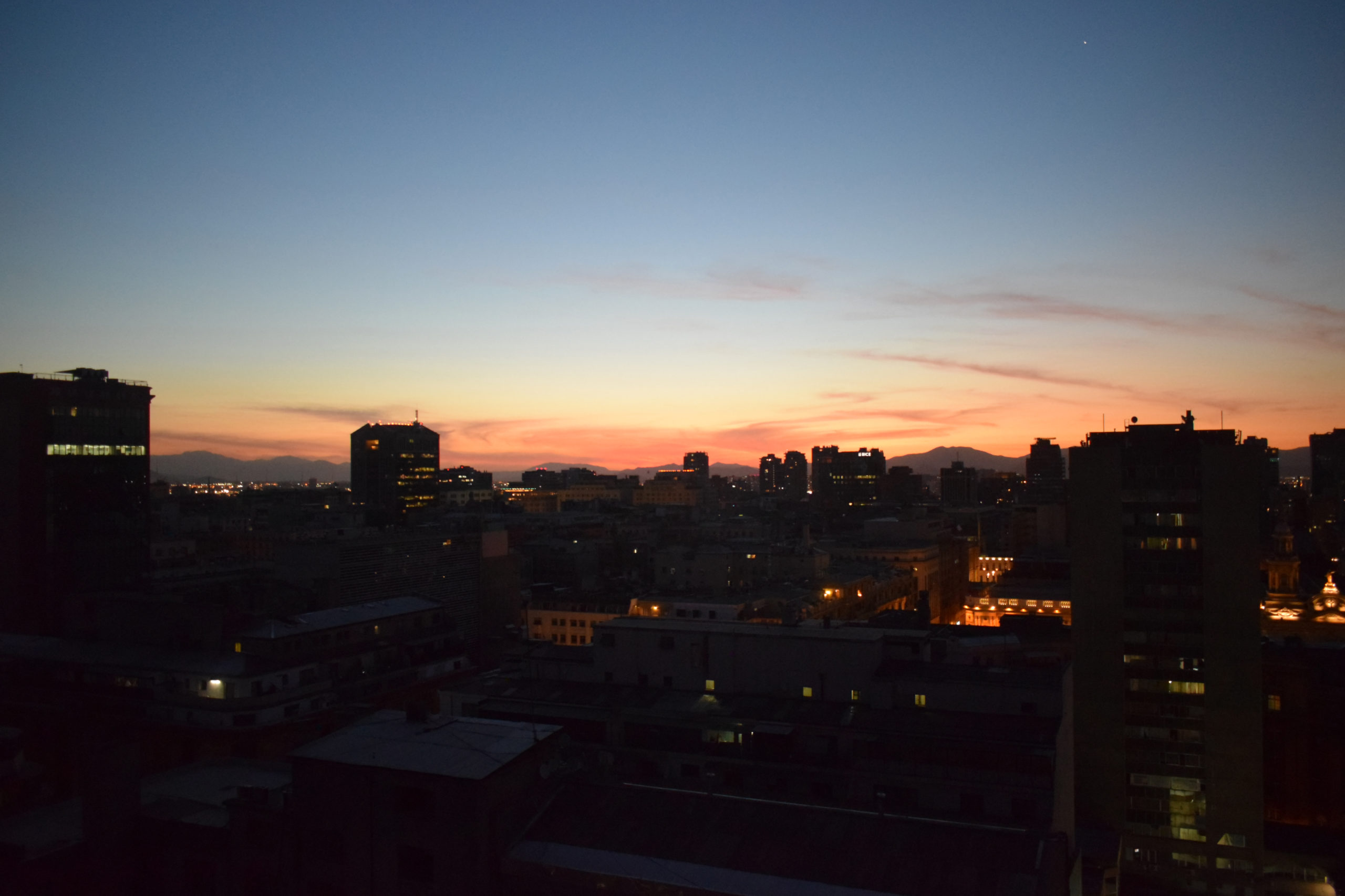 Sunset in Santiago on Christmas Day
