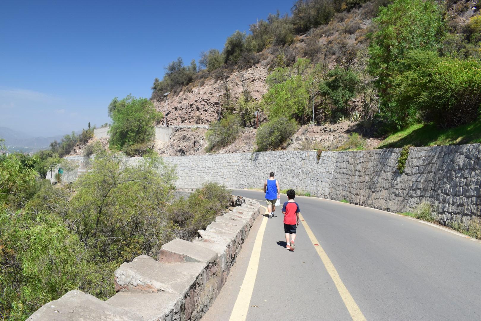 Going downhill, Cerro San Cristóbal, Santiago