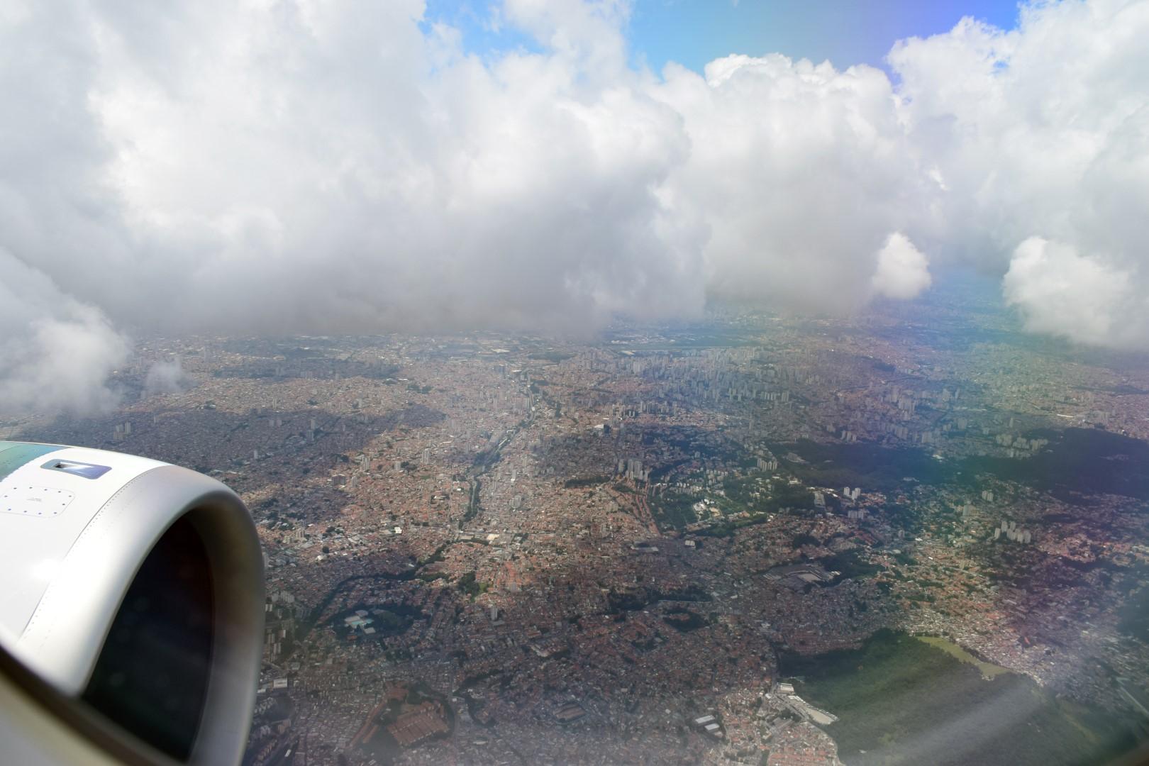Above Guarulhos, close to São Paulo