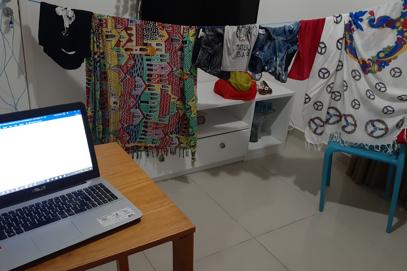 Last night in Salvador, drying laundry