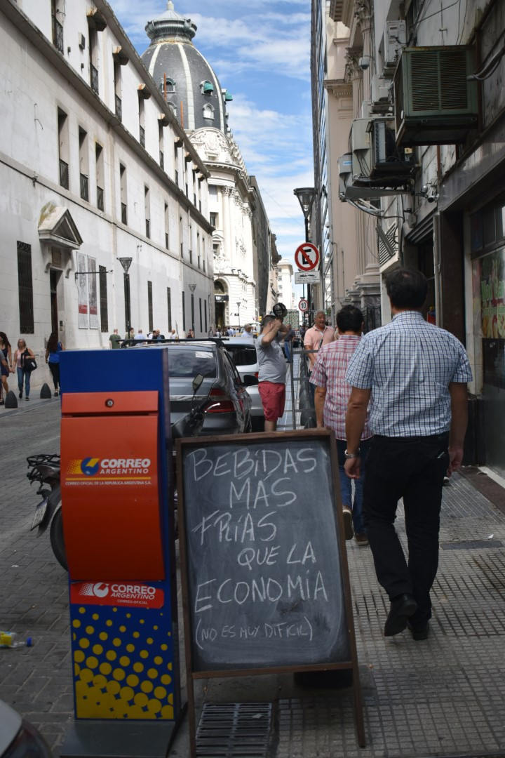 """Drinks colder than the economy (not too difficult...)"",Calle Esmeralda, Buenos Aires"