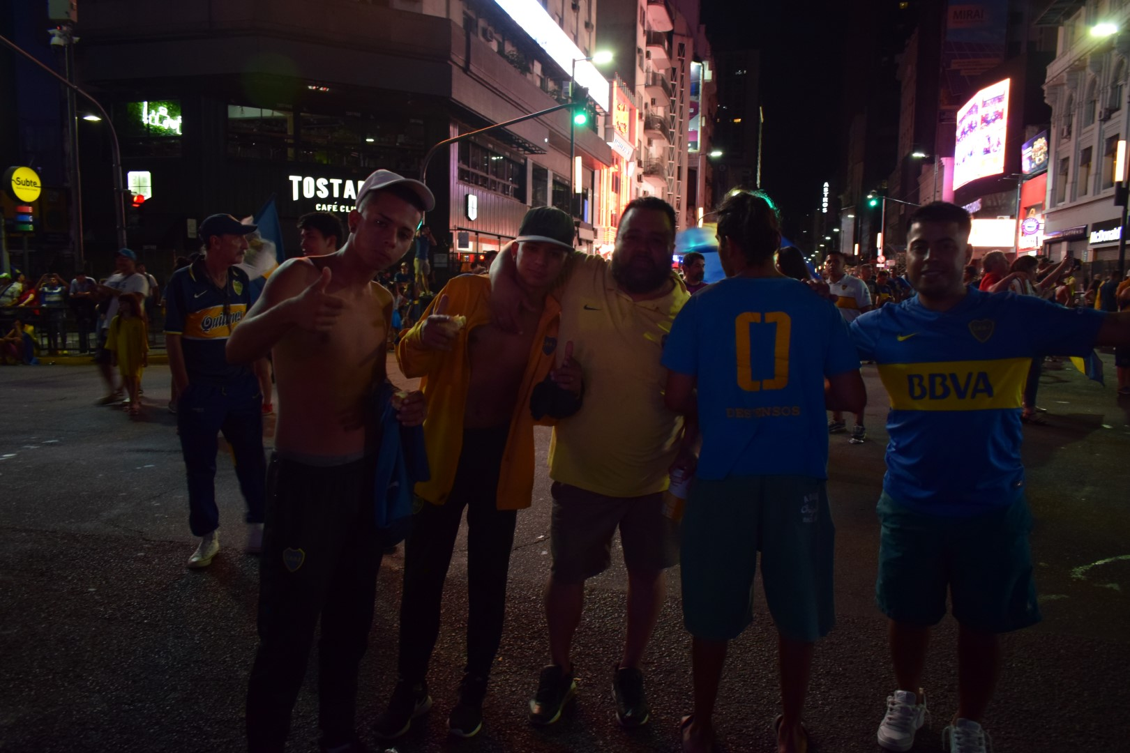 Boca fans celebrating winning the Superliga Argentina on 9 de Julio
