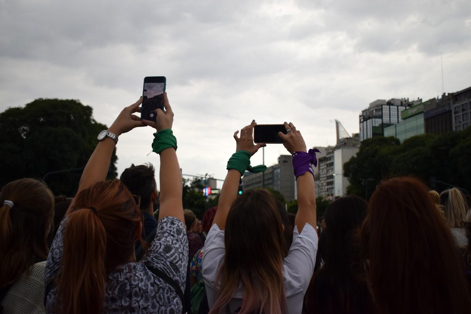 Women's March on Monday, March 9, Avenida 9 de Julio, Buenos Aires