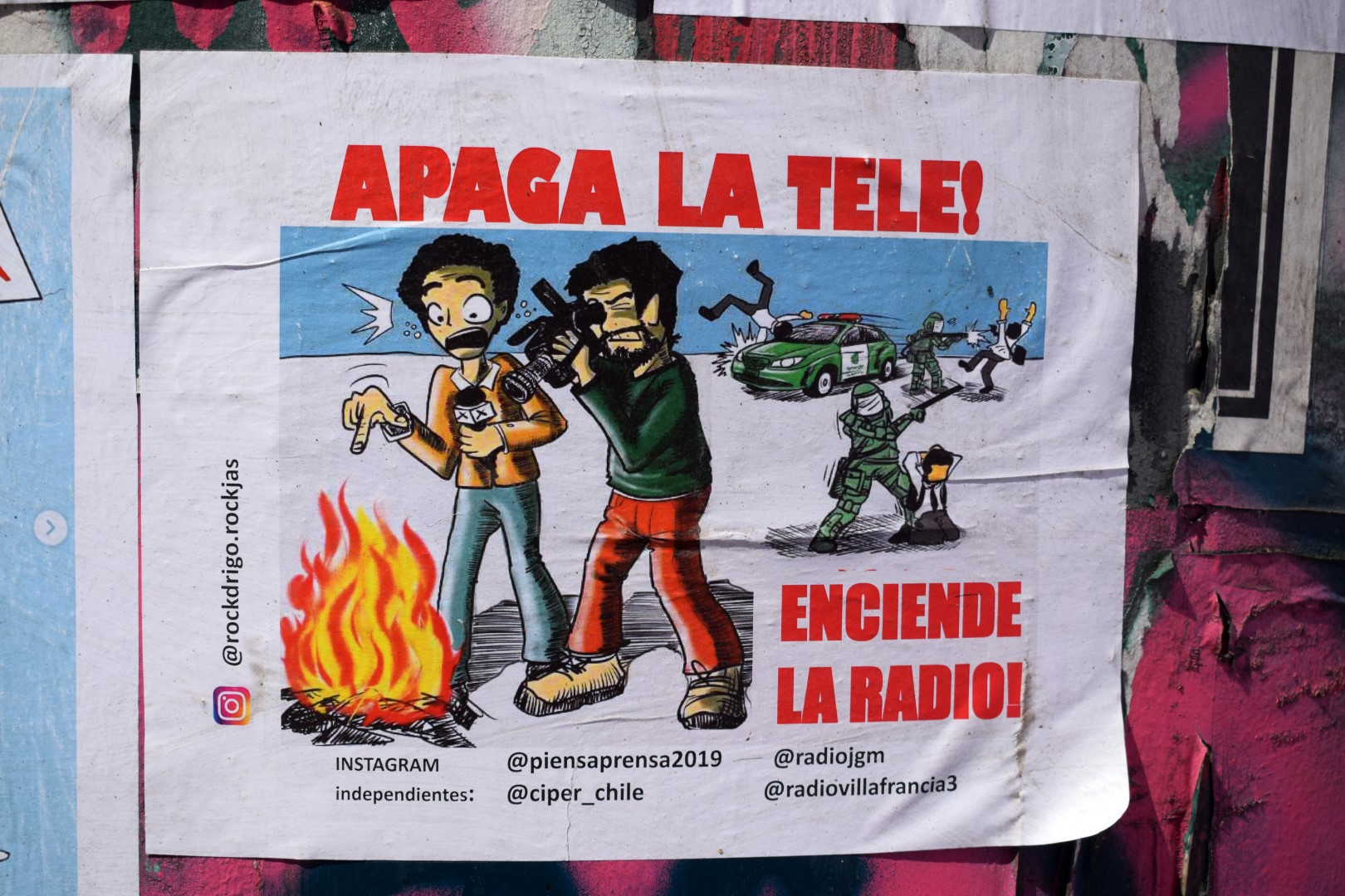 """Switch off the TV and burn the radio"", Providencia, Santiago"