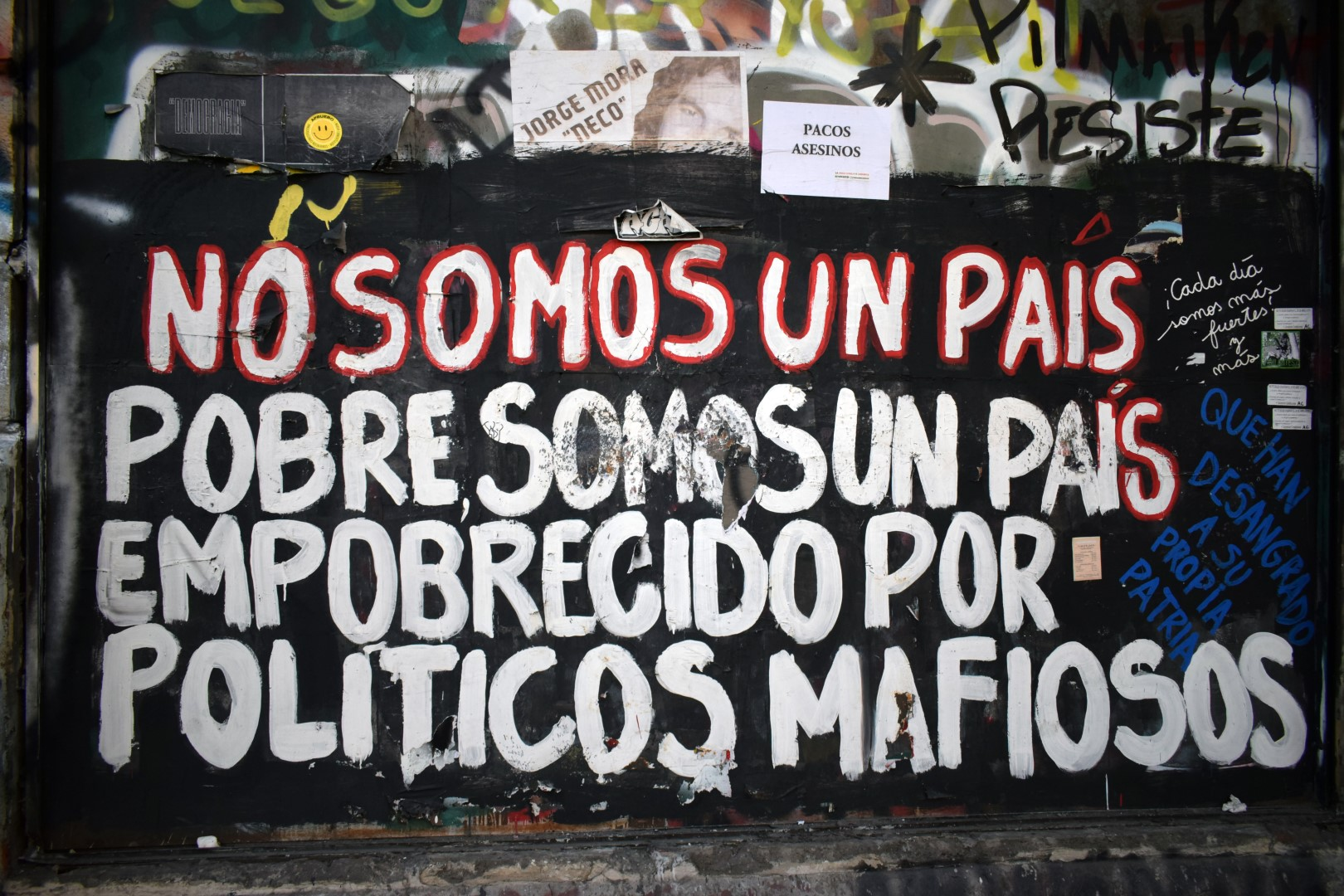 """We're not a poor country, we've been impoberished by the mafia state"", La Alameda, Santiago"