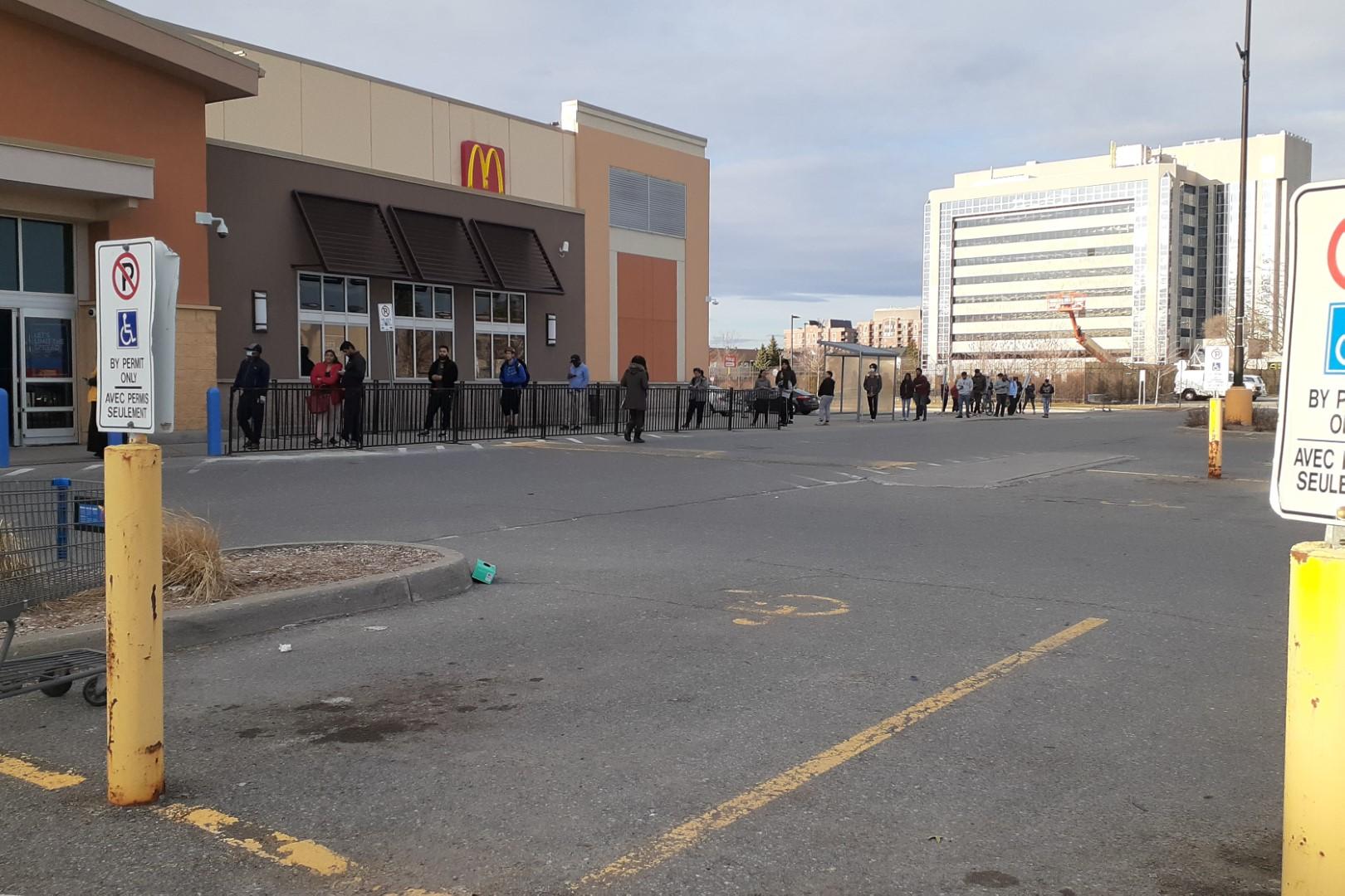 Queue to get inside Walmart, Merivale Road, Ottawa