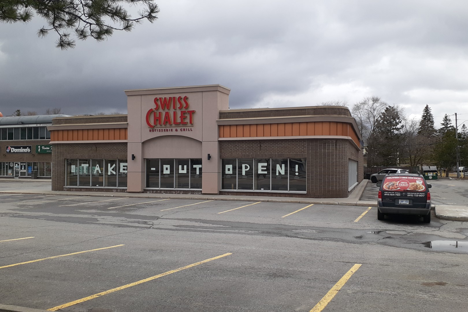 Open for delivery, Swiss Chalet, Merivale Road, Ottawa, April 2020
