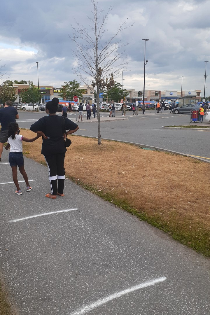 Queue at Walmart a few days before Canada Day, Ottawa, July 2020