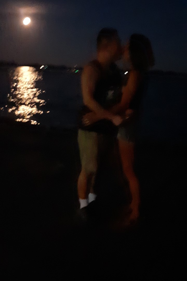 When Mark attempts to capture the romantic moment, on the waterfront, with a full moon...