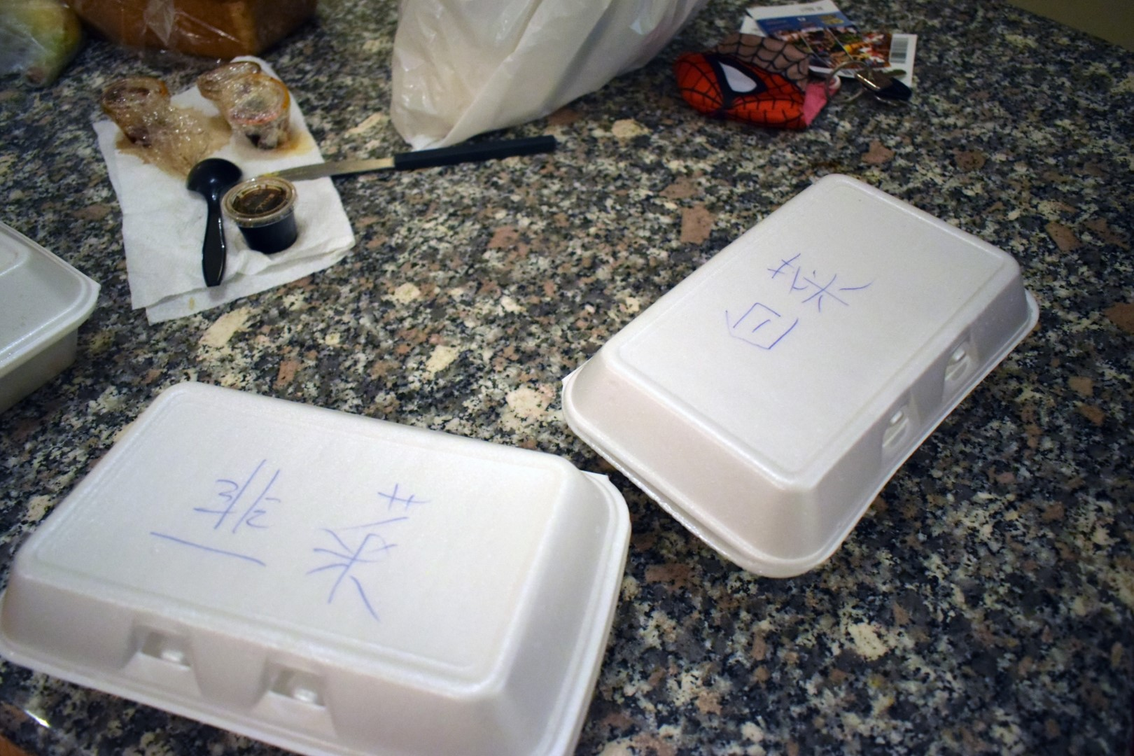 Chinese takeout, shuǐ jiǎo, at the Airbnb on Wellington Street