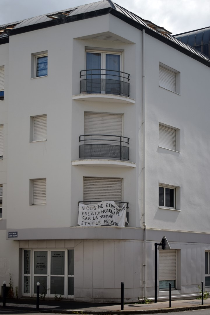 """""""We don't want to be back to normal because normal was the problem"""", Rue du Coudray, Nantes, July 2020"""
