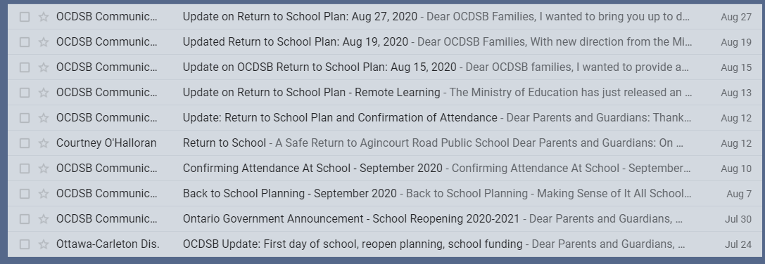 Sample of emails we received this summer