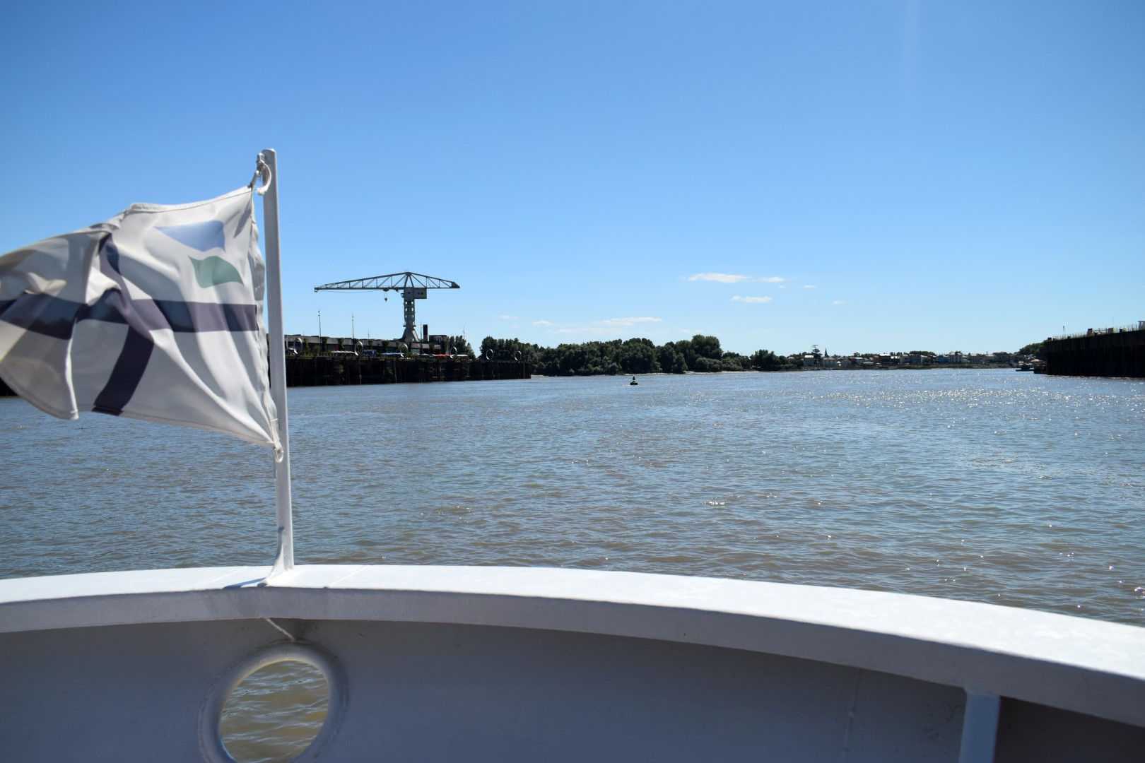 In the Navibus boat to Trentemoult across the Loire River, Nantes, July 2020