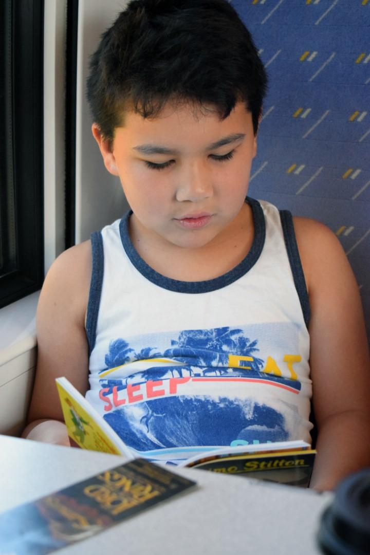 Mark reading a book in the TER train to Saint-Gilles-Croix-de-Vie