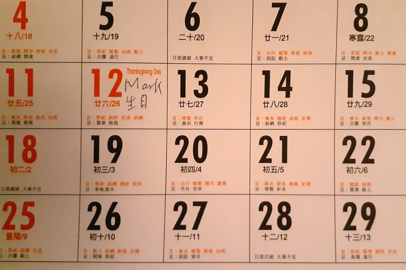 """Helpful reminder from my in-laws, """"Mark's birthday"""" written on my calendar"""
