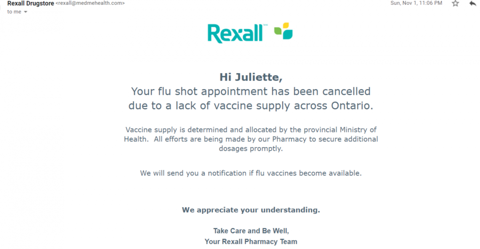 Flu shot cancellation email from Rexall, November 1, 2020