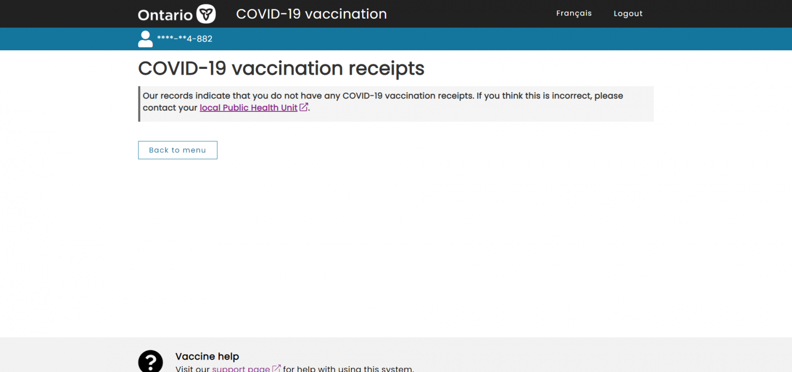 Ontario Health, no vaccination proof under my name, September 2021